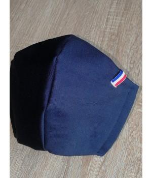 Masque de protection tissu liseré bleu blanc rouge.Fabrication française.