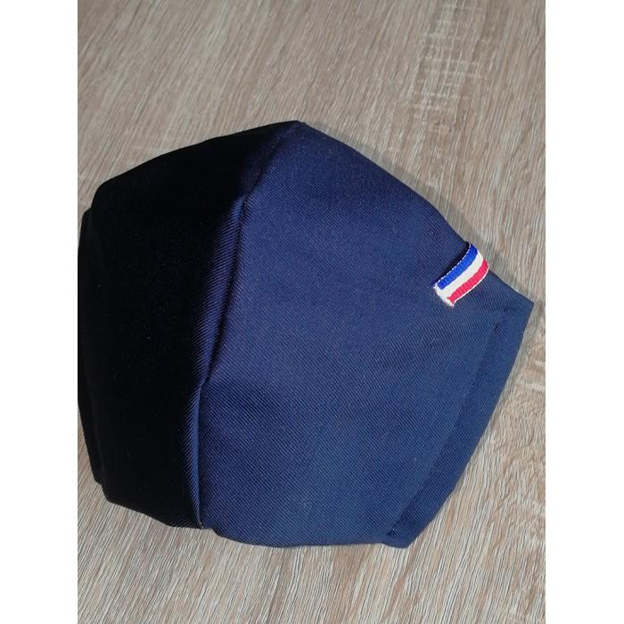 Masque de protection tissu liseré bleu blanc rouge.Fabrication française. Masque Macron